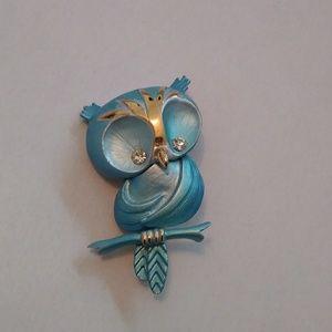 Vintage owl pin brooch enamel rhinestone eyes